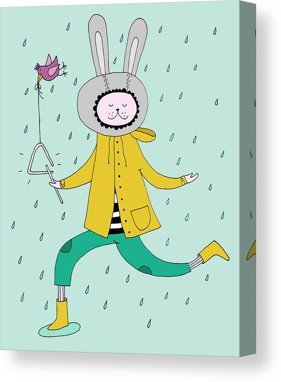 Animal Themes Canvas Print featuring the digital art Rabbit In Rain by Kristina Timmer