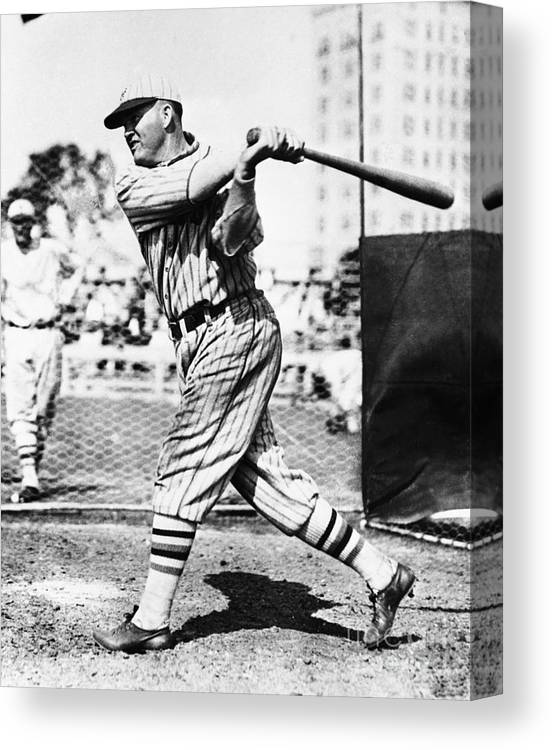 People Canvas Print featuring the photograph Rogers Hornsby In Batting Cage by Bettmann