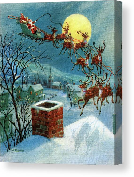 People Canvas Print featuring the photograph Santa Claus And His Sleigh by Graphicaartis