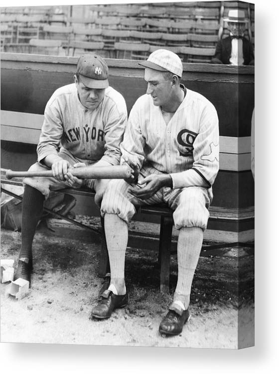 American League Baseball Canvas Print featuring the photograph Shoeless Joe Jackson And Babe Ruth by New York Daily News Archive