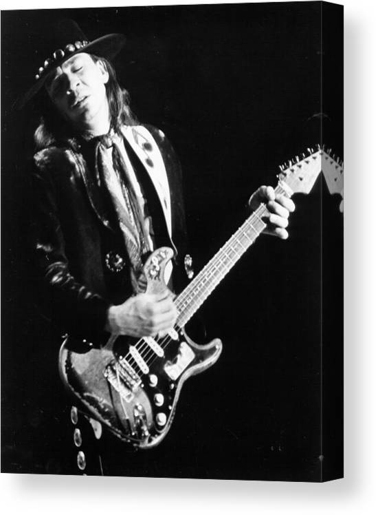 1980-1989 Canvas Print featuring the photograph Srv Performing In Davis by Larry Hulst