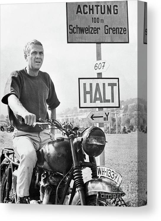 German Language Canvas Print featuring the photograph Steve Mcqueen On Motorcycle by Bettmann