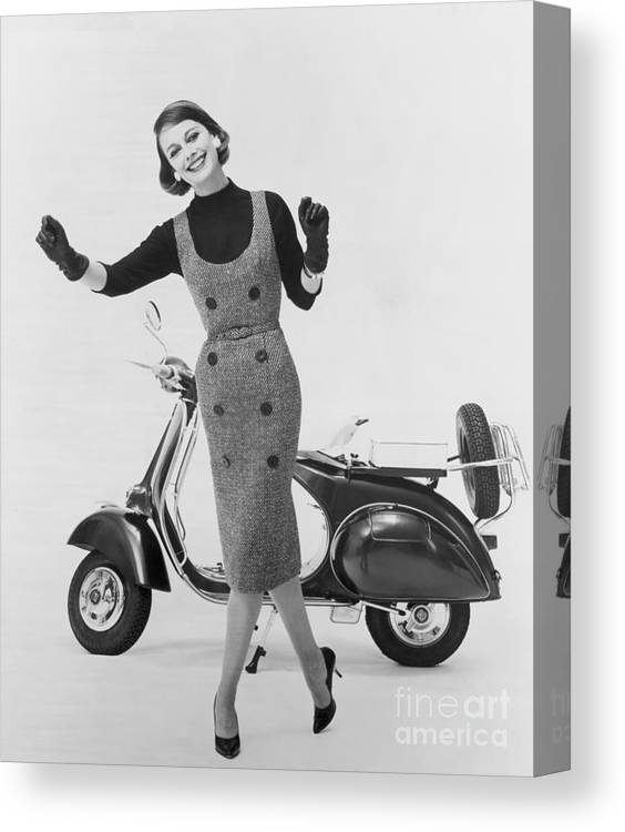 People Canvas Print featuring the photograph Stylish Woman And Scooter by Bettmann