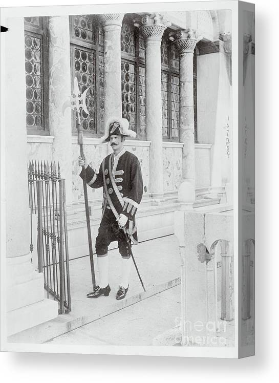 People Canvas Print featuring the photograph Swiss Guard At St. Marco Church by Bettmann