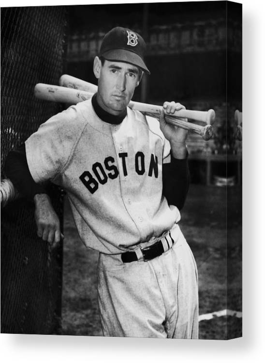 Ted Williams - Baseball Player Canvas Print featuring the photograph Ted Williams by Fpg