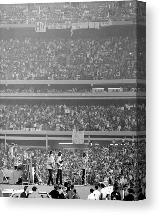 Crowd Canvas Print featuring the photograph The Beatles At Shea Stadium, Our Mets by New York Daily News Archive