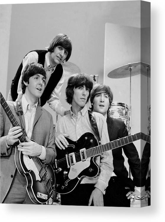 People Canvas Print featuring the photograph The Beatles, Ringo Starr Rear And L. To by New York Daily News Archive