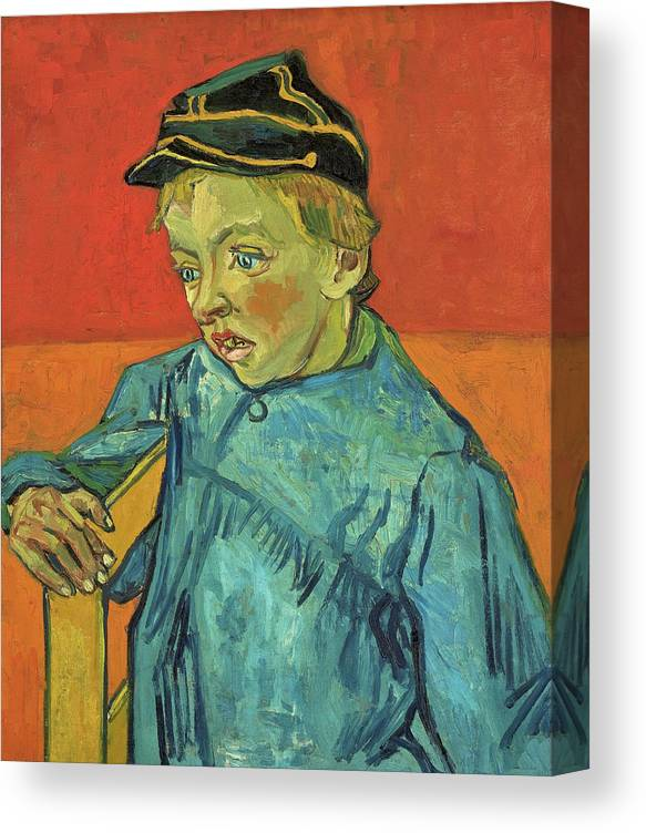 The Schoolboy Canvas Print featuring the painting The Schoolboy, Camille Roulin - Digital Remastered Edition by Vincent van Gogh