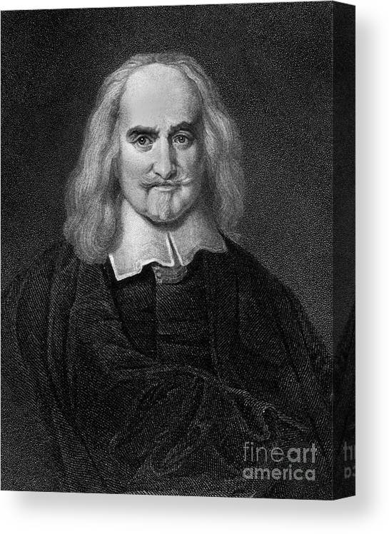 Historical Canvas Print featuring the drawing Thomas Hobbes English Philosopher, Engraving by European School