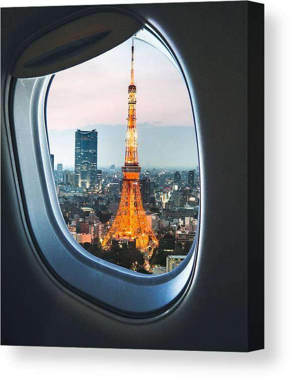 Tokyo Tower Canvas Print featuring the photograph Tokyo Skyline With The Tokyo Tower by Franckreporter