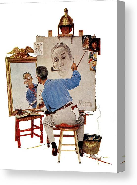 Artists Canvas Print featuring the drawing Triple Self-portrait by Norman Rockwell