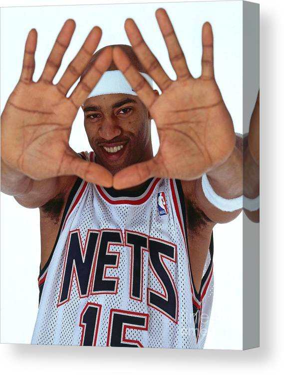 Nba Pro Basketball Canvas Print featuring the photograph Vince Carter Studio Portrait by Nathaniel S. Butler