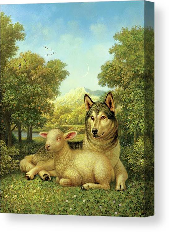 Wolf Laying With A Lamb Canvas Print featuring the painting Wolf Lies Down With The Lamb by Dan Craig