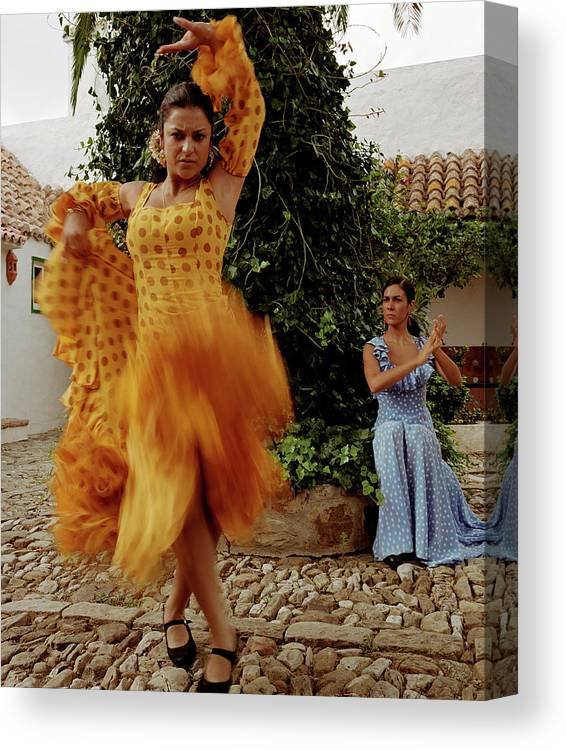 Blurred Motion Canvas Print featuring the photograph Woman Flamenco Dancer, Outdoors by Tim Macpherson