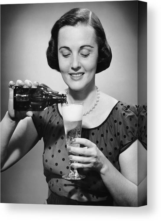 People Canvas Print featuring the photograph Woman Pouring Alcoholic Beverage by George Marks