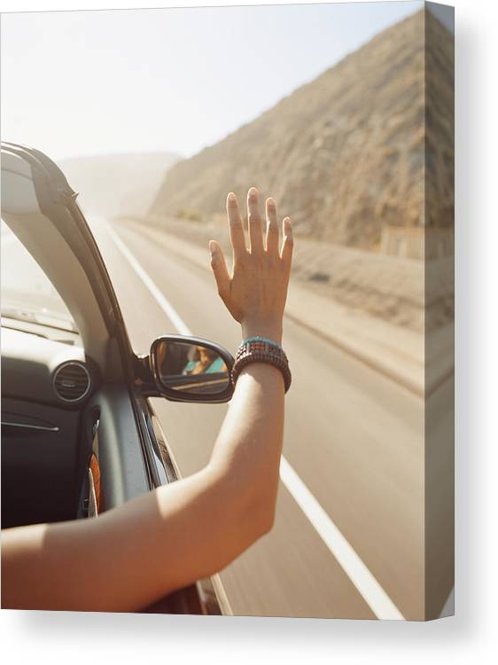 Human Arm Canvas Print featuring the photograph Woman Riding Convertible, Arm Outside by David Roth
