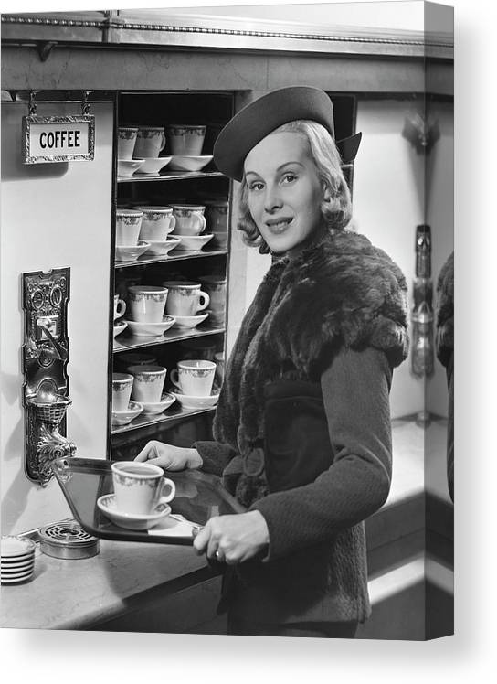 People Canvas Print featuring the photograph Woman Wcoffee On Tray by George Marks