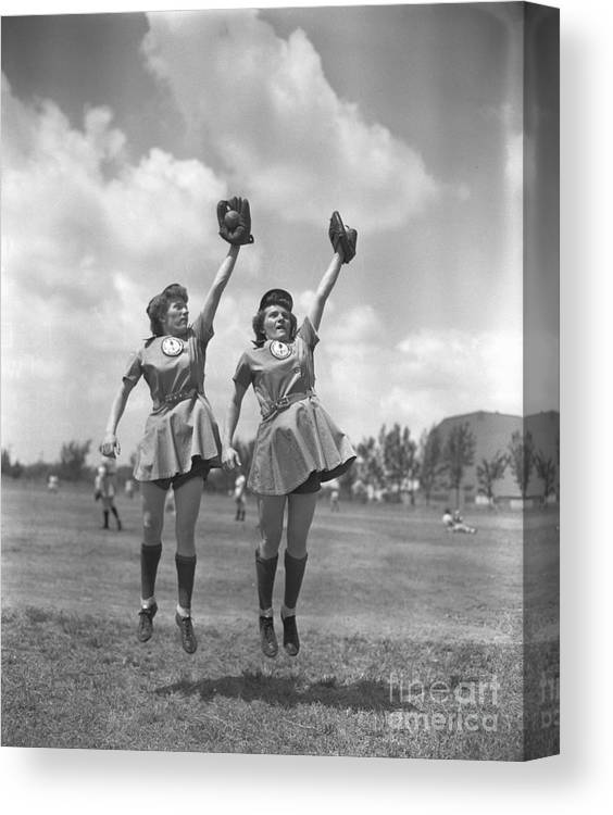 Mid Adult Women Canvas Print featuring the photograph Womens Baseball League Twin Players by Bettmann