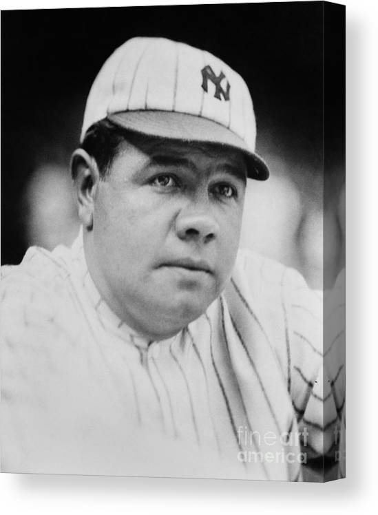 People Canvas Print featuring the photograph Babe Ruth by Mlb Photos