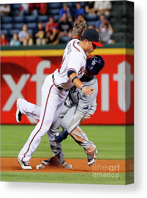 Atlanta Canvas Print featuring the photograph Carl Crawford and Martin Prado by Kevin C. Cox