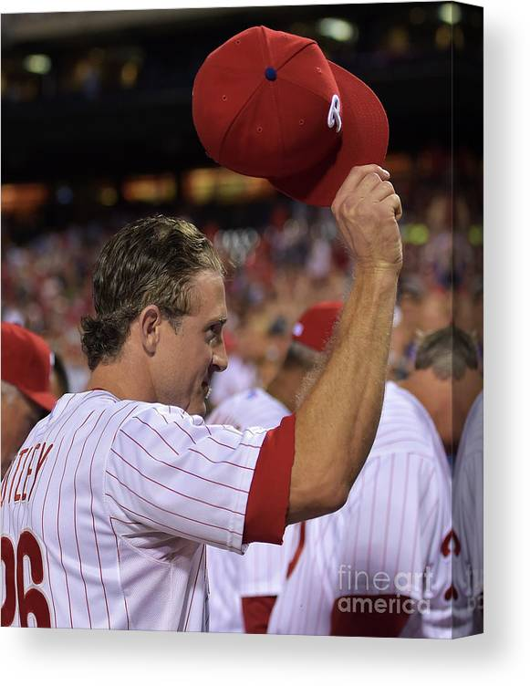 Crowd Canvas Print featuring the photograph Chase Utley by Drew Hallowell