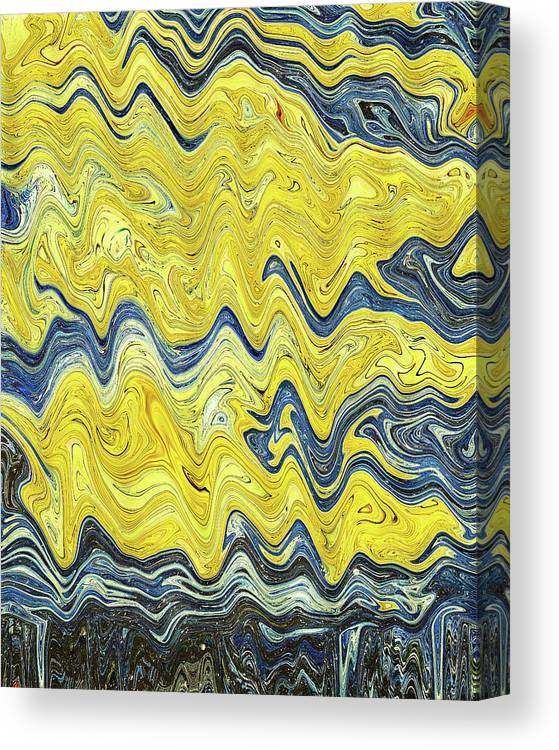 Abstract Canvas Print featuring the digital art Cheese Pizza After a Starry Night Out by Jack Entropy