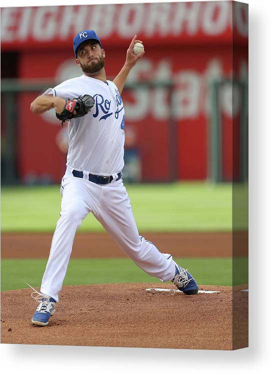 American League Baseball Canvas Print featuring the photograph Danny Duffy by Ed Zurga