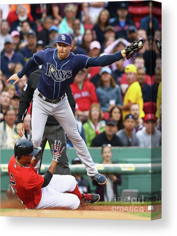 People Canvas Print featuring the photograph Evan Longoria and Xander Bogaerts by Maddie Meyer