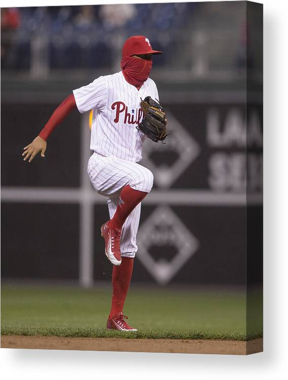 People Canvas Print featuring the photograph Freddy Galvis by Mitchell Leff