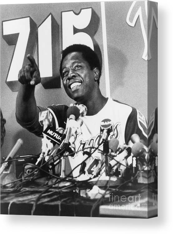 People Canvas Print featuring the photograph Hank Aaron by Mlb Photos