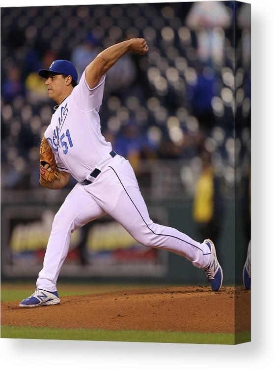 American League Baseball Canvas Print featuring the photograph Jason Vargas by Ed Zurga