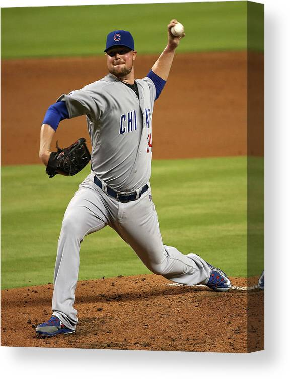 People Canvas Print featuring the photograph Jon Lester by Mike Ehrmann