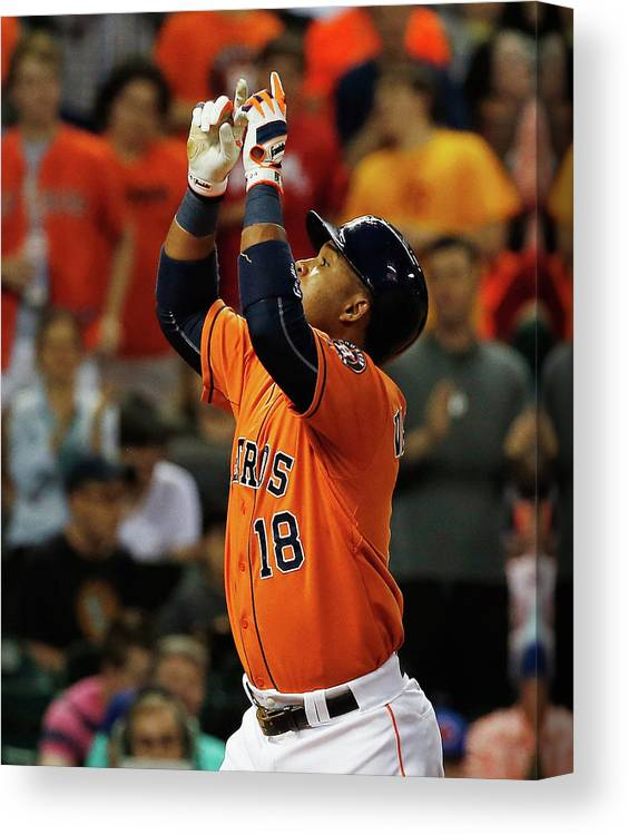 People Canvas Print featuring the photograph Luis Valbuena by Scott Halleran