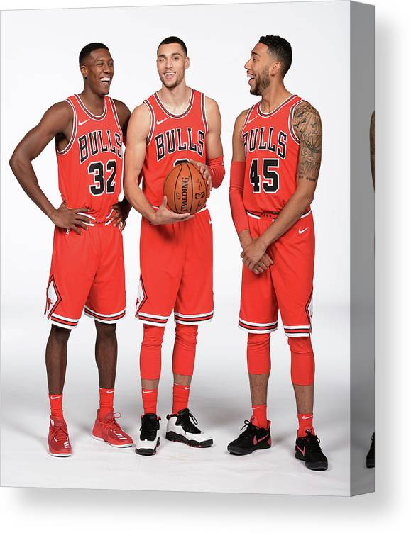 Media Day Canvas Print featuring the photograph Zach Lavine, Kris Dunn, and Denzel Valentine by Randy Belice