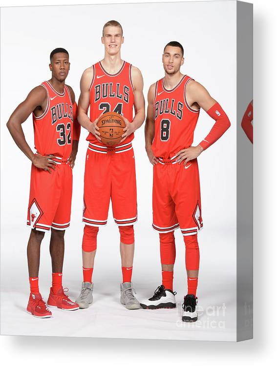 Media Day Canvas Print featuring the photograph Zach Lavine, Kris Dunn, and Lauri Markkanen by Randy Belice