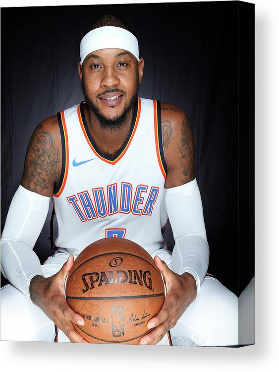 Media Day Canvas Print featuring the photograph Carmelo Anthony by Layne Murdoch