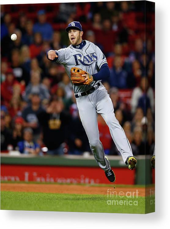 American League Baseball Canvas Print featuring the photograph Evan Longoria by Jared Wickerham
