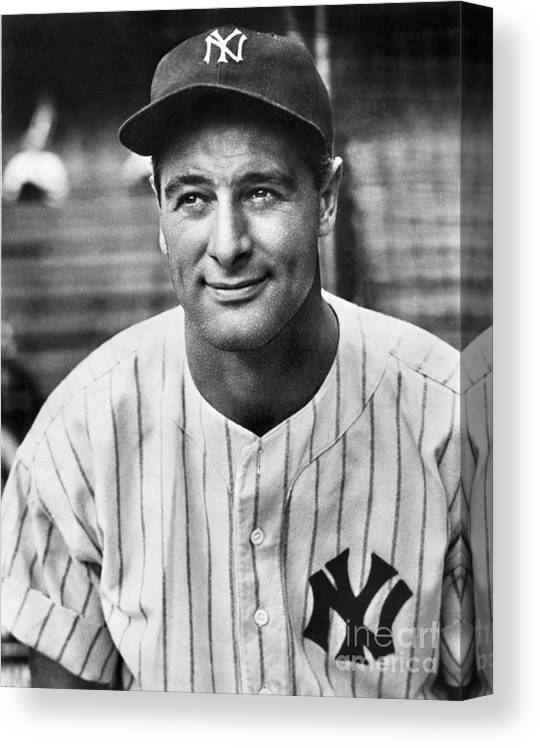 People Canvas Print featuring the photograph Lou Gehrig by National Baseball Hall Of Fame Library