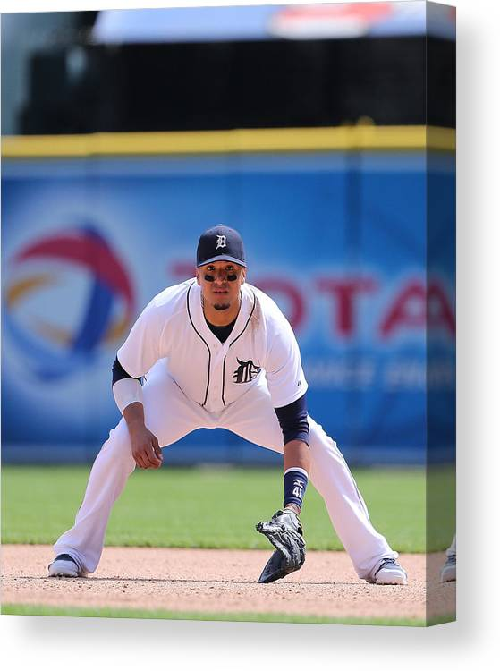 American League Baseball Canvas Print featuring the photograph Victor Martinez by Leon Halip