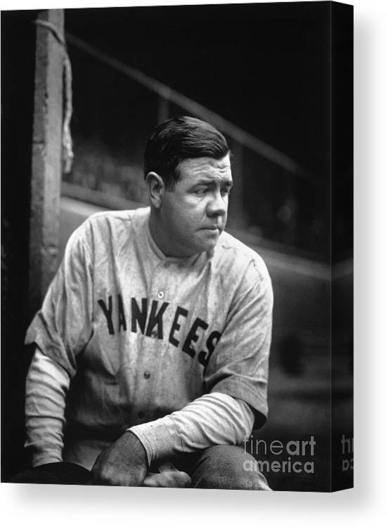 People Canvas Print featuring the photograph Babe Ruth by National Baseball Hall Of Fame Library