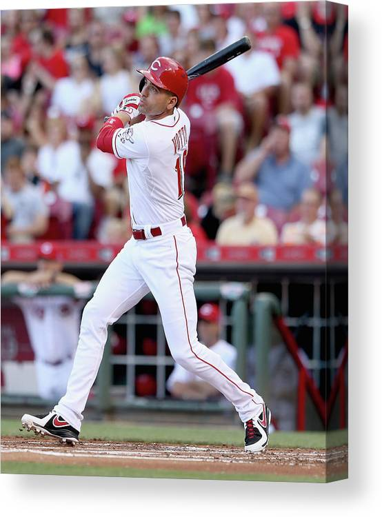 Great American Ball Park Canvas Print featuring the photograph Joey Votto by Andy Lyons