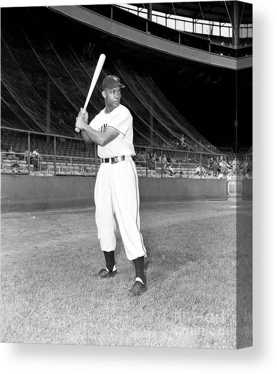 People Canvas Print featuring the photograph Monte Irvin by Kidwiler Collection