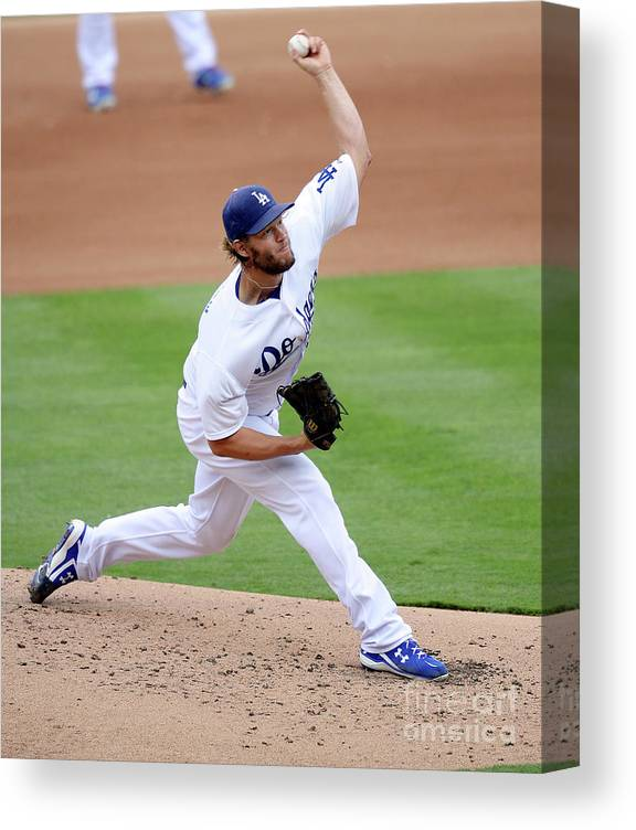 People Canvas Print featuring the photograph Clayton Kershaw by Kevork Djansezian