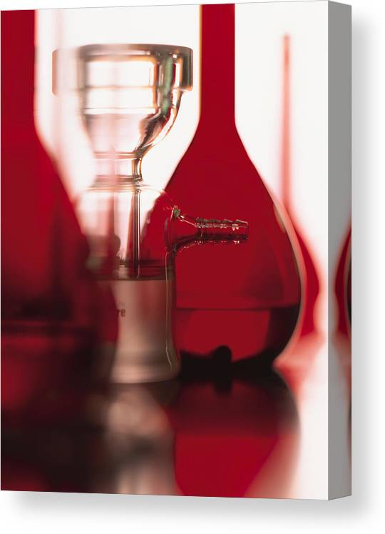 White Background Canvas Print featuring the photograph A Series Of Red Flasks And Beakers Stand On A Shiny Table With A White Background by Photodisc