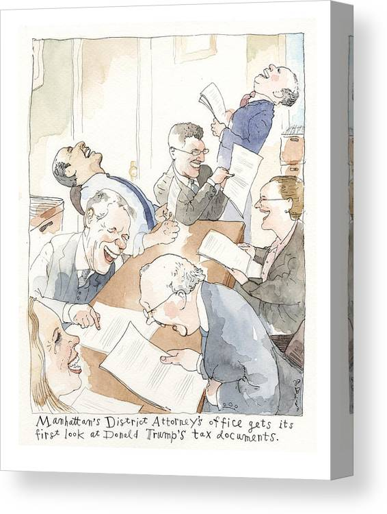 A Sneak Peak At Donald Trump's Tax Documents Canvas Print featuring the painting A Sneak Peak at Donald Trump's Tax Documents by Barry Blitt