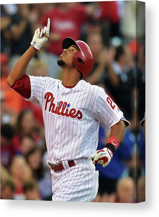 American League Baseball Canvas Print featuring the photograph Aaron Altherr by Drew Hallowell
