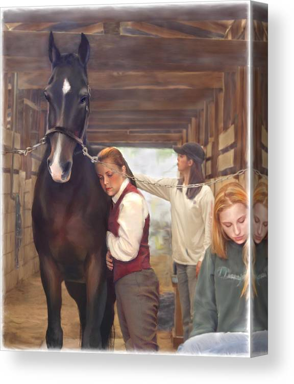 Horse Canvas Print featuring the painting Aisle Hug Horse Show Barn Candid Moment by Connie Moses