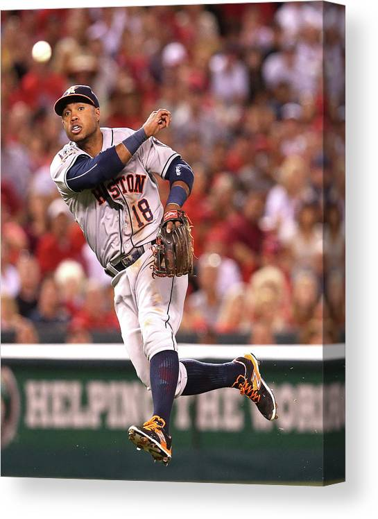 People Canvas Print featuring the photograph Albert Pujols and Luis Valbuena by Stephen Dunn