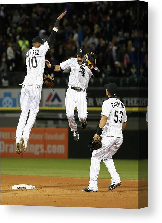 People Canvas Print featuring the photograph Alexei Ramirez, Melky Cabrera, and Adam Eaton by Jonathan Daniel
