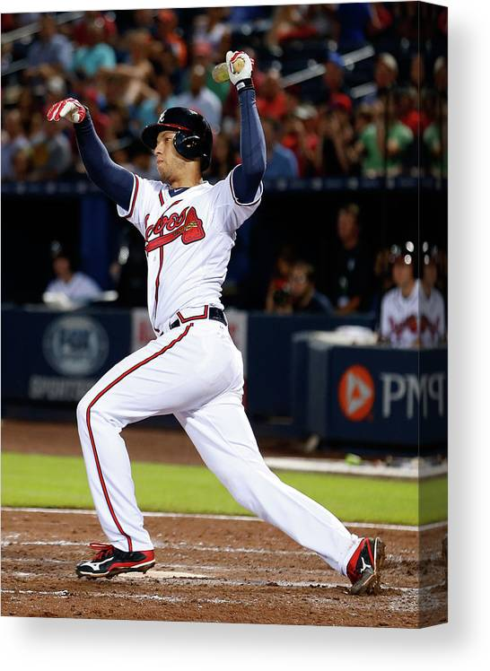 Atlanta Canvas Print featuring the photograph Andrelton Simmons by Mike Zarrilli